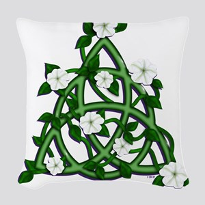 Triqueta with Moonflowers Woven Throw Pillow