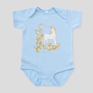 Unicorn and Vine White and Gold Infant Bodysuit