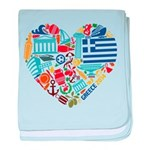 Greece World Cup 2014 Heart baby blanket