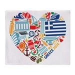 Greece World Cup 2014 Heart Throw Blanket