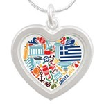 Greece World Cup 2014 Heart Silver Heart Necklace