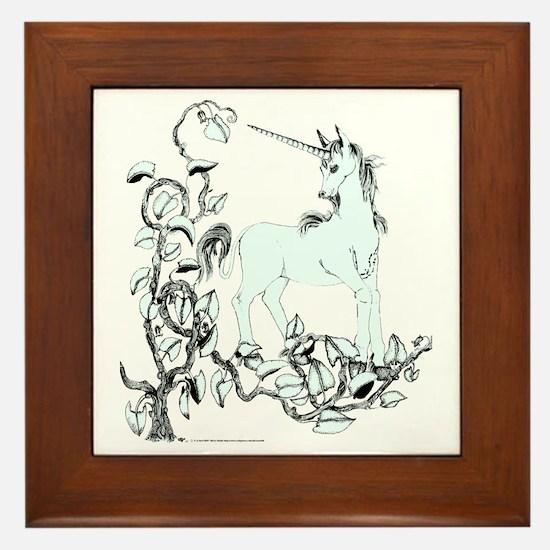 Pale Blue Unicorn and Vine Framed Tile