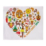 Côte d'Ivoire World Cup 2014 Heart Throw Blanket