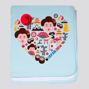 Japan World Cup 2014 Heart baby blanket