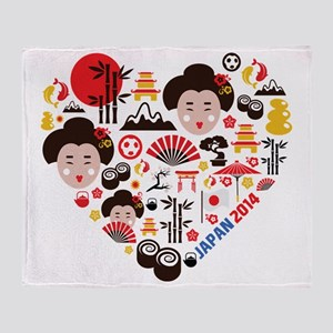 Japan World Cup 2014 Heart Throw Blanket