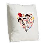 Japan World Cup 2014 Heart Burlap Throw Pillow