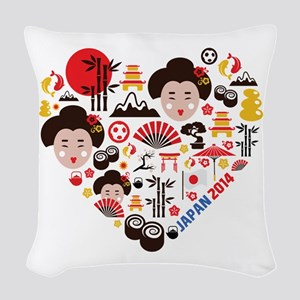 Japan World Cup 2014 Heart Woven Throw Pillow
