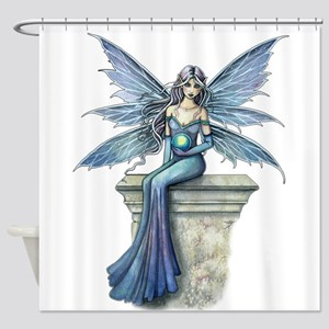 Blue Celeste Fairy Fantasy Art Shower Curtain