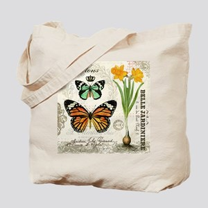 Modern Vintage Butterflies and Daffodils Tote Bag