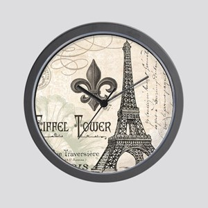 Modern Vintage Eiffel Tower Wall Clock