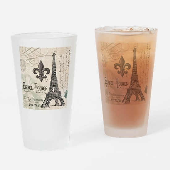 Modern Vintage Eiffel Tower Drinking Glass