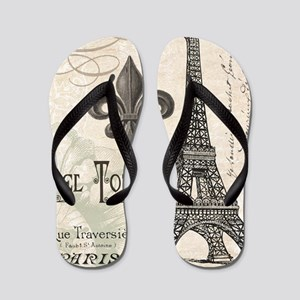 Modern Vintage Eiffel Tower Flip Flops