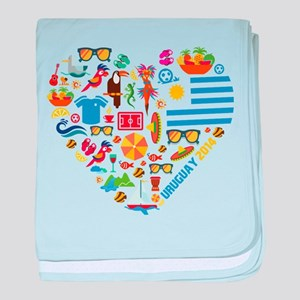 Uruguay World Cup 2014 Heart baby blanket