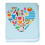 Uruguay World Cup 2014 Heart baby blanket