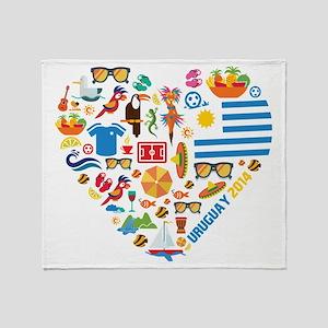 Uruguay World Cup 2014 Heart Throw Blanket