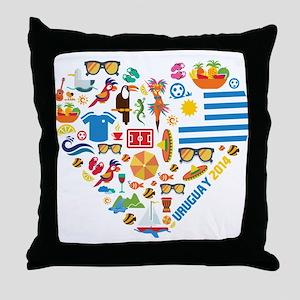 Uruguay World Cup 2014 Heart Throw Pillow
