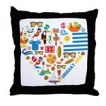 Uruguay World Cup 2014 Heart Throw Pillow