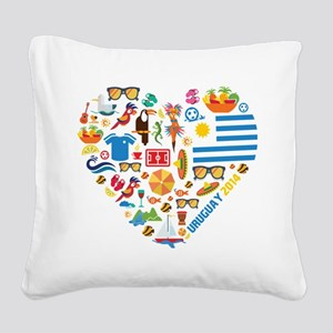 Uruguay World Cup 2014 Heart Square Canvas Pillow