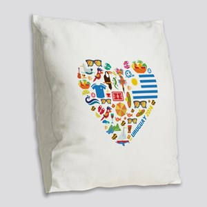 Uruguay World Cup 2014 Heart Burlap Throw Pillow