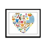 Uruguay World Cup 2014 Heart Framed Panel Print
