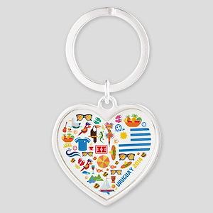 Uruguay World Cup 2014 Heart Heart Keychain