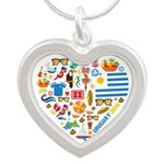 Uruguay World Cup 2014 Heart Silver Heart Necklace