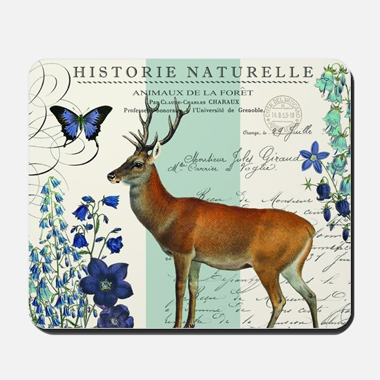 Modern vintage woodland deer and flowers Mousepad