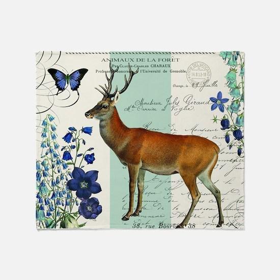 Modern vintage woodland deer and flowers Throw Bla