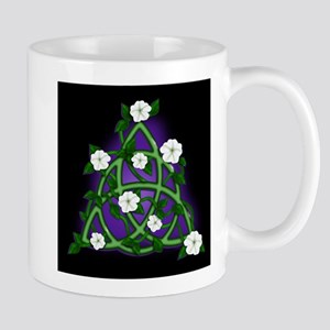 Charmed Triqueta with Moonflowers on Black Mugs