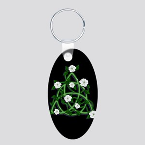 Charmed Triqueta Moonflowers On Black Keychains