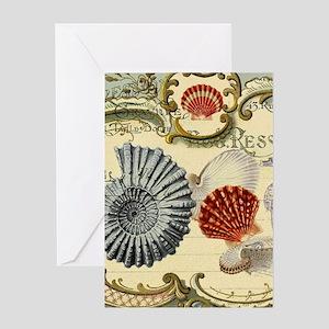 modern beach seashells seahorse Greeting Cards