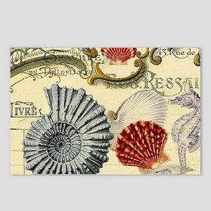 modern beach seashells seahorse Postcards (Package