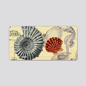 modern beach seashells seahorse Aluminum License P