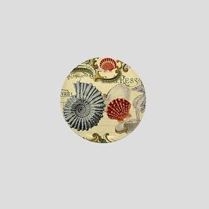 modern beach seashells seahorse Mini Button