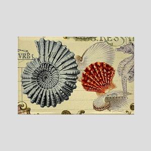 modern beach seashells seahorse Magnets