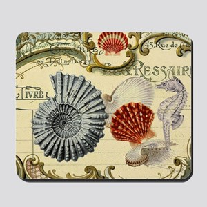 modern beach seashells seahorse Mousepad