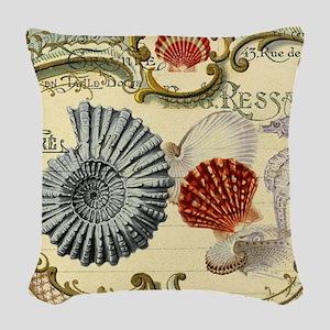 modern beach seashells seahorse Woven Throw Pillow