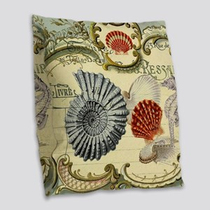 modern beach seashells seahorse Burlap Throw Pillo