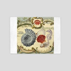 modern beach seashells seahorse 5'x7'Area Rug