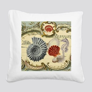 modern beach seashells seahorse Square Canvas Pill