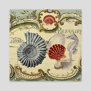 modern beach seashells seahorse Queen Duvet