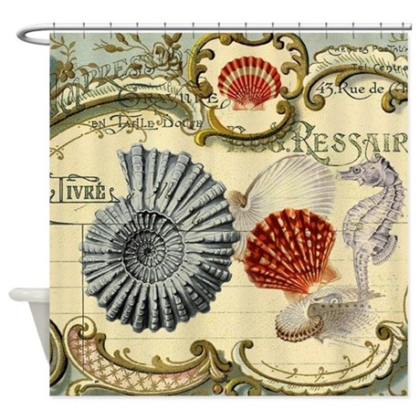 MODERN BEACH SEASHELLS SEAHORSE SHOWER CURTAIN