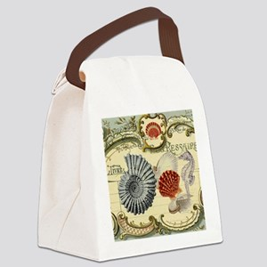 modern beach seashells seahorse Canvas Lunch Bag