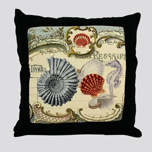 modern beach seashells seahorse Throw Pillow