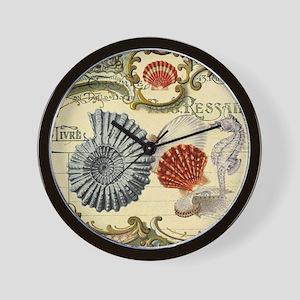 modern beach seashells seahorse Wall Clock