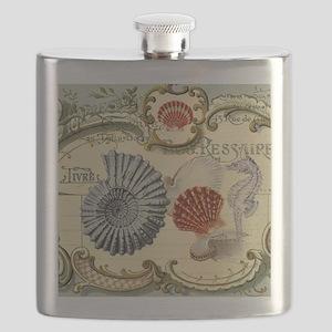 modern beach seashells seahorse Flask