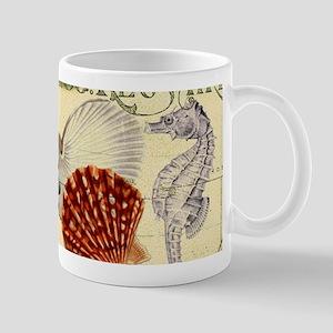 modern beach seashells seahorse Mugs