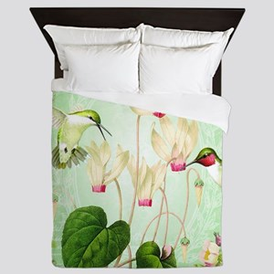 Modern Vintage French Hummingbirds Queen Duvet