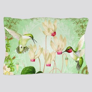 Modern Vintage French Hummingbirds Pillow Case