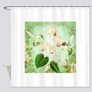 Modern Vintage French Hummingbirds Shower Curtain